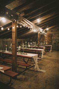 Bohemian Rustic Barn Wedding Reception Table Setting Ideas