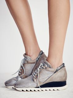 Stanley Woven Trainer | Hidden wedge fashion sneakers with soft washed leather uppers and pieced matte leather heels. Ridged rubber soles and tonal suede laces.