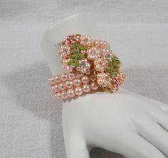 Faux Pearl Memory Wire Bracelet by KatsCache on Etsy, $29.95