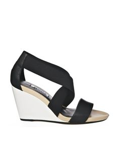 Dune Glance Black Mid Wedge Strappy Sandals