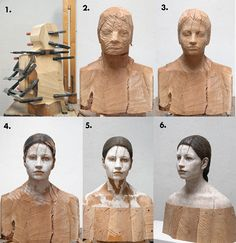 If It's Hip, It's Here (Archives): Bruno Walpoth Brings Wood To Life In His Contemporary Human Sculptures.