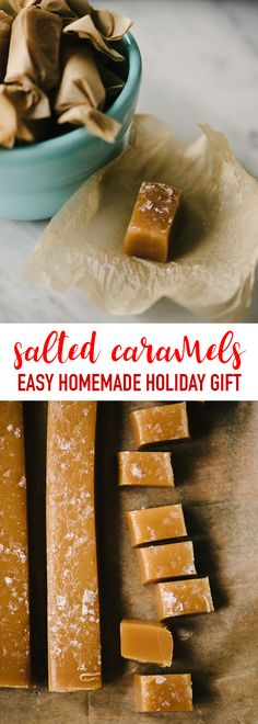 These chewy salted caramels are an easy, homemade holiday gift for family, friends, neighbors, teachers, and most importantly, yourself. These easy homemade candies soft and chewy, creamy and sweet, with a healthy dusting of flaky sea salt for the perfect sweet-savory bite. #saltedcaramels #holidayfood #holidaygift #homemadecandy