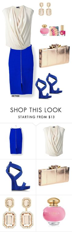 """BLUE  SKIRT .... & ...."" by betty-sanga ❤ liked on Polyvore featuring Roland Mouret, Lanvin, Giuseppe Zanotti, Christian Louboutin, Forever New, La Perla and Estée Lauder"