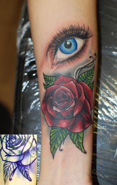 Rose cover up and realistic colour eye tattoo by Ruslan Moshkin at hammersmith tattoo!!!