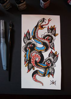 Snake and Roses - Original Traditional Tattoo Flash by Deep13Art on Etsy
