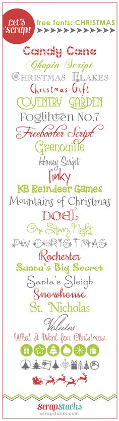 Let's Scrap! Free Christmas Fonts  ~~ {25 free fonts w/ easy download links}