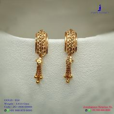 Gold 916 Premium Design Get in touch with us on Jewelry Design Earrings, Gold Earrings Designs, Gold Jewellery Design, Jewelry Stand, Gold Earrings For Women, Gold Drop Earrings, Small Earrings, Chandelier Earrings, Gold Ring Designs