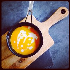 Sweet potato and pumpkin soup with chilli and coconut