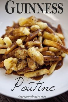 Poutine with Guinness Gravy ~ I have been on a cheese curd kick (thank you Amish Store) for weeks.  If I am going to eat unhealthy, I may as well try to take it all the way atleast once. ;)