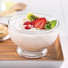 Pouding de chia aux kiwis, amandes et fraises - Les recettes de Caty Kiwi, Pouding Chia, Cold Meals, Health Snacks, Flan, Kids Meals, Nutrition, Panna Cotta, Deserts