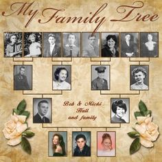 Family Tree: Heritage scrapbook page. If you do not have everyone's photos, improvise to create placeholders: A letter written by them, a document naming them or object that belonged to them, gravestone etc. Scanning old photos is quick and easy: Just use