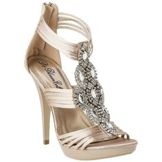 Women's De Blossom Sally Platform Satin Sandal with Rhinestones -... (765 MXN) ❤ liked on Polyvore featuring shoes, sandals, heels, heels & pumps, women's shoes, sexy high heel sandals, nude high heel sandals, high heel platform sandals, nude heeled sandals and gladiator sandals