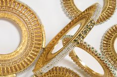 A set of gold bangles. The edge of the pair larger bangles is set with… Girls Jewelry, Jewelry Art, Wedding Jewelry, Antique Jewelry, Jewelry Design, Gold Bangles, Bangle Bracelets, Diamond Bracelets, Rajputi Jewellery
