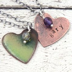 Spring Green Enamel Hand Stamped Name Necklace with Oxidized Sterling Silver Chain and a sweet Czech crystal bead.
