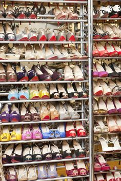 """This is a photo of my miles of shoes in a Pantone-color system. I get crazy when its out of order.""Photographed by Amelia Alpaugh #refinery29 http://www.refinery29.com/inside-albright-fashion-library-in-nyc#slide-8"