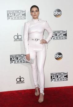 Halsey looked tough in a white leather jumpsuit. <em>(Photo: Getty Images)</em>
