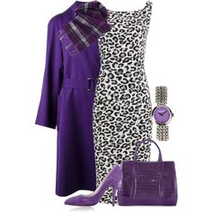 """Leopard and purple"" by cavell on Polyvore"