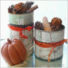 map covered potpourri containters: My Heart's Song
