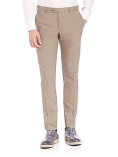 Pal Zileri Wool Slim Fit Dress Pants - Tan - Size