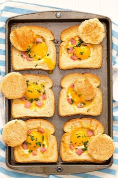 Baking a tray of Ham And Cheese Baked Eggs In Toast in the oven means you can make several servings at once for breakfast, brunch, or brinner. Great way to use up leftover Christmas and Easter ham.