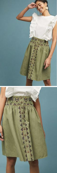 I love this Embroidery Utility Skirt from Anthropologie! This skirt is finished with just the right amount of embroidery, for a feminine take on the utility trend. #womens #fashion #anthropologie #affiliate