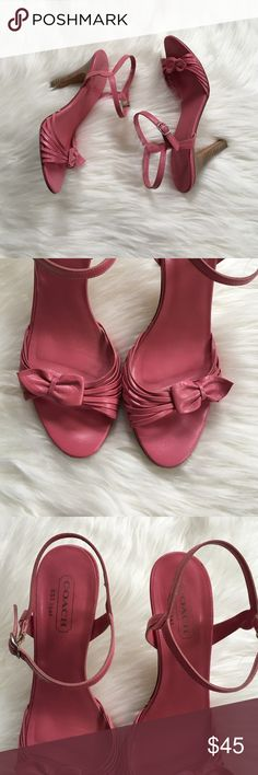 Coach Pink Leather Strappy Heels 2.5 inch heel. These are in amazing condition!  Slight wear on the bottom but no flaws on the leather at all. NO TRADES PLEASE Coach Shoes Heels