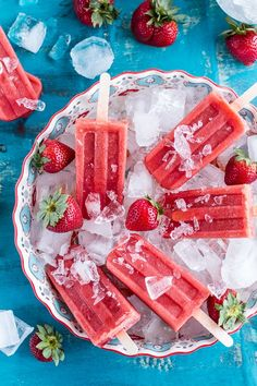 2-Ingredient Strawberry Popsicles