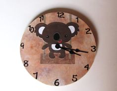 Koala wall clock  Swinging Koala by happybluedragonfly on Etsy, $36.00