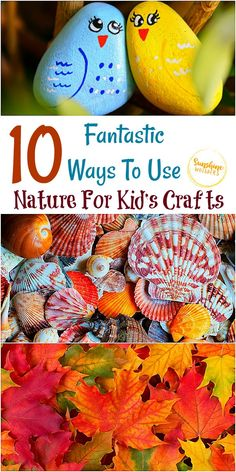 10 Fantastic Ways To Use Nature For Kid's Crafts Crafts For Kids To Make, Craft Activities For Kids, Activity Ideas, Homemade Playdough, Toilet Paper Roll Crafts, Diy Craft Projects, Craft Ideas, Nature Crafts, Toddler Crafts