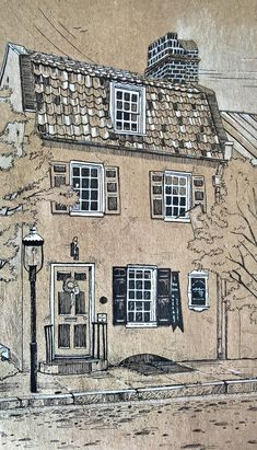 Paper Drawing, Painting & Drawing, Paper Art, Building Drawing, Building Sketch, Building Art, House Sketch, Toned Paper, Black And White Drawing