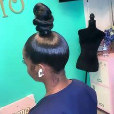 ♛ ͢ – bun hairstyles for long hair Hair Ponytail Styles, Weave Ponytail Hairstyles, Black Girl Braided Hairstyles, Slick Hairstyles, Sleek Ponytail, My Hairstyle, Curly Hair Styles, Natural Hair Styles, Birthday Hairstyles