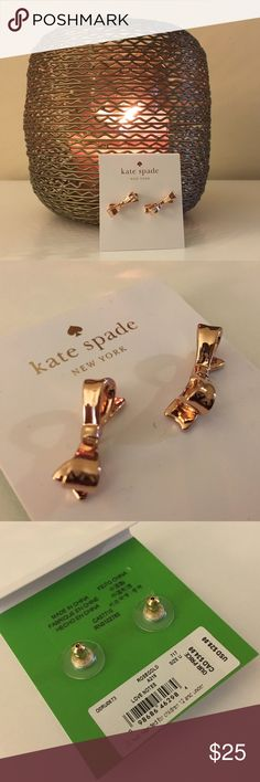 Kate Spade Earrings - Rose Gold Bows Retail $28.  I will include a Kate Spade dust bag with purchase. Happy Shopping! kate spade Jewelry Earrings