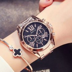 """Universe of goods - Buy """"GIMTO Luxury Women Dress Watches Roman Numeral Rose Gold Black Unique Casual Female Wristwatch Waterproof Business Lady Clock"""" for only USD. Sport Watches, Cool Watches, Watches For Men, Wrist Watches, Stylish Watches, Elegant Watches, Black Watches, Latest Watches, Popular Watches"""