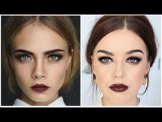 Cara Delevingne Inspired Makeup Tutorial || Smokey Eyes & Dark Lips - YouTube