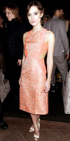 Keira Knightley wearing a jacquard Richard Nicoll dress with leather sandals.