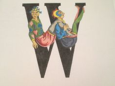 'W' FRENCH CLOWNS-ISABEL'S-HANDPAINTED NEEDLEPOINT CANVAS
