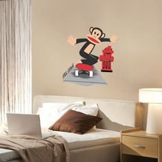 Paul Frank Wall Art is the latest trend in interior decorating and home decor. It is an easy and creative way to add personality and charm to your kids rooms! This modern wall decal features Julius the monkey on a skateboard and is sure to upgrade your kid's rooms and play areas.$89.99