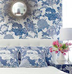 Thibaut - Wallpaper and Fabric.matched wallpaper and fabric Wallpaper Stencil, Bedroom Wallpaper, Color Inspiration, Interior Inspiration, Matching Wallpaper, Blue Beach, White Rooms, Beautiful Wall, Beautiful Interiors