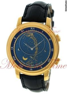 """Patek Philippe Grand Complication Celestial Sky Moon """"Discontinued Model"""", Blue Dial - Yellow Gold on Strap"""
