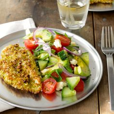 Gluten-free sesame and pistachio chicken schnitzel is a great easy weeknight dinner. Serve with this Turkish salad for a healthy dinner everyone will love. Diet Recipes, Chicken Recipes, Cooking Recipes, Healthy Recipes, Chicken Meals, Diabetic Recipes, Turkish Salad, Yogurt, Healthy Snacks