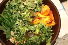 Farmer's Market Peach and Green Bean Salad. Toasted Hazelnuts. Tarragon Vinaigrette.