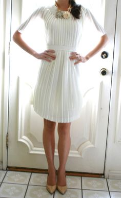 Life is Beautiful: DIY-pleated dress - made from one long skirt!  I could do this!