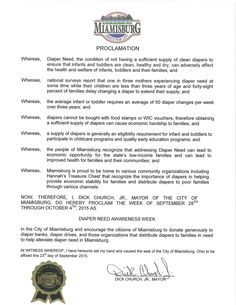 Miamisburg, OH - Mayoral proclamation recognizing Diaper Need Awareness Week (Sept. 28 - Oct. 4, 2015) #DiaperNeed www.diaperneed.org