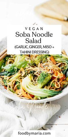 Vegetarian Recipes Dinner, Tofu Recipes, Vegan Dinners, Easy Dinner Recipes, Healthy Recipes, Celiac Recipes, Soba Noodle Recipe Healthy, Tahini Dressing, Soba Noodles