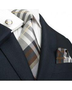 TheDapperTie - New Men's Brown White & Gray Stripes Silk Tie Set 29M