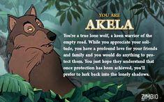 I took Zimbio's 'Jungle Book' quiz, and I'm Akela! Who are you?
