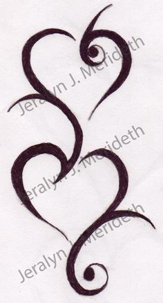Double Tribal heart design 1