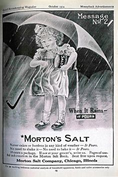 The Morton Salt Girl - 1914 debut ad in Good Housekeeping