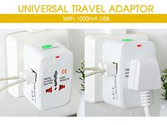 Universal Travel Adapter Universal Travel Adapter with 2 USB Output / White - TCAT Philippines Online Shopping Mall in the Philippines