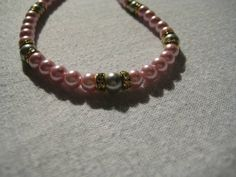 Pink,Grey Pearls,Gold Rondells Crystals.line with Gold,White Crystal Drops